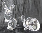 2 Lenox Rabbits Crystal Figurines Standing/cleaning Face Signed Easter Bunny
