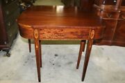 Antique Mahogany Satinwood Inlay Extendable Game Table - Jefferson Woodworking