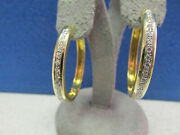 Estate Womanand039s 1.00 Ctw Diamond Hoop Earrings 18k Gold High Quality Make Offer