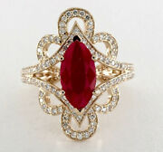 2.08ct Natural Round Diamond 14k Solid Yellow Gold Ruby Gemstone Cocktail Ring