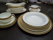 Royal Caudon L4142 Gold Encrusted Lot Dinner Service For 6 Or 10 With Extras