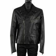 Dolce And Gabbana Biker Bull Leather Jacket With Zips Pockets Black 54 Xl 08436