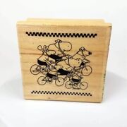 Very Rare 1995 Sandra Boynton Cycling Bicycles Mounted Rubber Stamp, Kidstamps