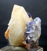181 Grams Unique Dog Tooth Calcite With Fluorite Specimen From Baluchistan