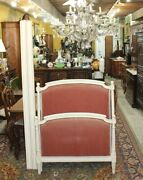 French Antique Louis Xvi Painted White Twin Size Upholstered Bed