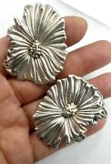 Vintage Large Sterling Silver Pansy Clip On Earrings 1andrsquo Andfrac34 X 1andrdquo Andfrac12