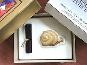 Estee Lauder Lucky Snail Compact With Solid White Linen Perfume In Orig Box Rare