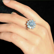 Round Tested Moissanite Halo Engagement Ring Art Deco Solid 14k White Gold 13