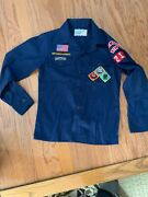 Bsa Cub Scout Blue Uniform Shirt Size Youth Medium 11 ½ With Patches And Pin