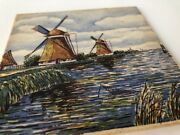 Vintage Mosa Hand Painted Tile Holland Windmill River Rustic Farmhouse Dutch 6