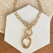 14 Kt Yellow Gold Polished Circles Y Necklace Lavalier Lariat Style Chain New