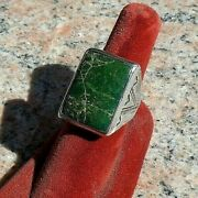 Old Pawn 1940s Heavy Ring With Rectangular Green Turquoise Size 10+