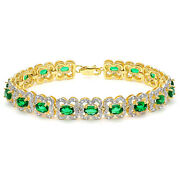 6.13 Ct Russian Emerald And 3/5 Ct Genuine Diamond 925 Sterling Silver Bracelet