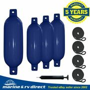 4 Boat Fenders 6.5 X 23 Vinyl Ribbed Bumpers Dock Shield Protection Navy Blue