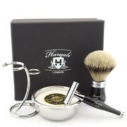 Black Shaving Kit With Mens Double Edge Safety Razor, Brush, Stand, Bowl And Soap