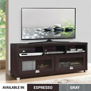 Tv Stand 65-inch 90 Lbs Capacity Audio Gaming Component Shelves Glass Doors New
