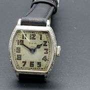 Elgin Wrist Watch 14 Kt White Gold Filled Square Case With Filigree Bezel