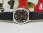 Rare 1940and039s Ww Ii Jaeger-lecoultre Black Dial Military Manand039s Watch