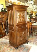 French Antique Renaissance Louis Xiii Oak 2 Door And 1 Drawer Cabinet
