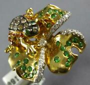 Large 1.10ct White And Mocha Diamond And Aaa Multi Gem 18k Yellow Gold Frog Fun Ring