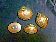 Vintage Lot Of 4 Brass Scallop, Clamp Conch Sea Shells Trinket Boxes Hinged Lid
