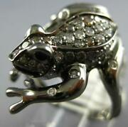 Large 1.09ct Multi Color Diamond And Aaa Ruby 18k Black Gold Happy Lucky Frog Ring