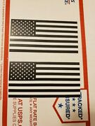 Lot Pack Set Of 2 Usa American Flag Vinyl Sticker Decal White And Black 4 X 2