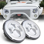 2x7and039and039inch Led Headlights Halo Angle Eyes Drl Turn Signal Light For Jeep Wrangler
