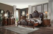 Acme Furniture Queen Picardy Cherry Oak Upholstered 6 Piece Bed Set