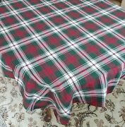 Vintage Fabric Cotton Blend Tablecloth Red Green White Plaid Tablecloth 56 X 80