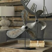 Pair Coastal Beach Propellers Props On Stands Display Statue Boat Nautical Decor