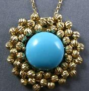 3.39ct Aaa Turquoise 14k Yellow Gold Flower Diamond Cut By The Yard Fun Necklace