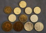 Italy Coin Variety Lot - 1906 Silver 1 Lira And 11 Non-silver Coins - Free Ship Us
