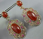 Large 3.10ct Diamond Aaa Sapphire And Agate 14kt Rose Gold Flower Hanging Earrings