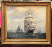Antique British School Oil Painting - An English Squadron Underway - Seascape