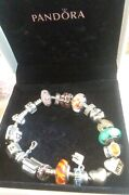21pc All Authentic Pandora Bracelet And Charms Beads Boxed Rare Most Retired Lot