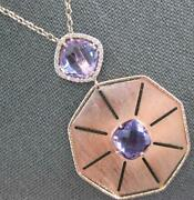 Large 8.40ct Diamond And Aaa Amethyst 14kt Rose Gold 3d Octagon Floating Pendant