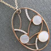 Estate Large .33ct Diamond And Aaa Mother Of Pearl 14kt Rose Gold Oval Fun Pendant
