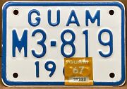 Rare Very Nice 1965 Guam Motorcycle License Plate With 1967 Year Sticker