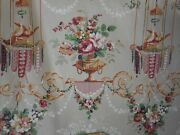 Vintage Louis Dove Urn Floral Polished Cotton Fabric 1rose Ochre Winediament