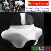 White Motorcycle Detachable Batwing Fairing For Harley Road King 6x 9 Speakers