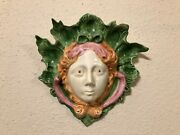 Mottaheded Winterthur Flora Face Wall Pocket Adapted From Glazed Earthenware