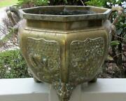 C. 1880and039s Japanese Bronze Footed Planter W/ High Relief Panels