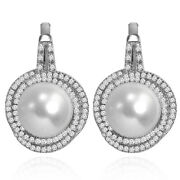 14k Solid White Gold Freshwater Pearls And Diamond Russian Earrings E1444