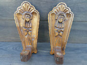 Vintage Swedish Wooden Convent Chapel Pair Wall Hanging Sconce Candle Stick Hold