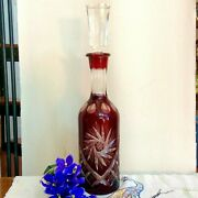 Ruby Red Bohemian Crystal Decanter Art Glass Cut To Clear Starburst Vtg Antique