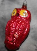 """Antique Vintage Yellow Eyed Owl German Glass Figural Christmas Ornament 3"""""""