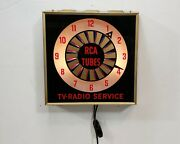 Vintage 1960and039s Rca Tv Radio Service Rca Tubes Lighted Working Clock Dealership