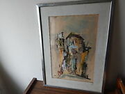 Signed Wood Framed Watercolor Abstract Painting International Sale
