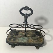 Drinking Glass Caddy Vanity Holder With Handle Patina Metal Old Vintage, Antique